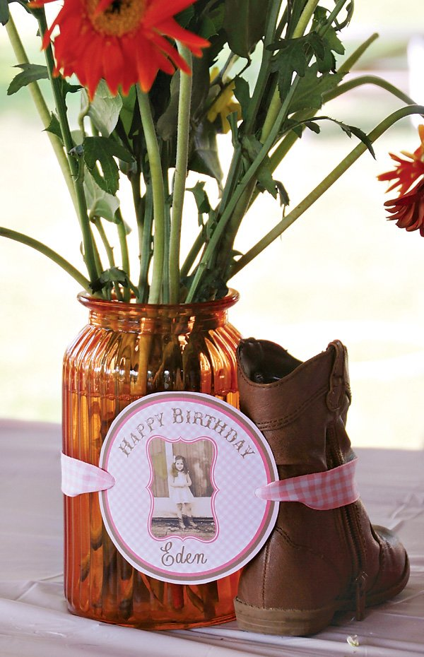 centerpiece for a girly farm party