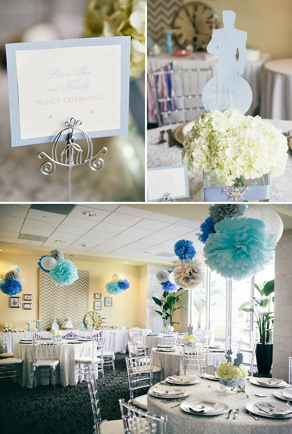 blue and white cinderella party decor with prince charming silhouette