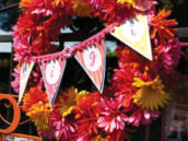 bunting and daisy flower wreath