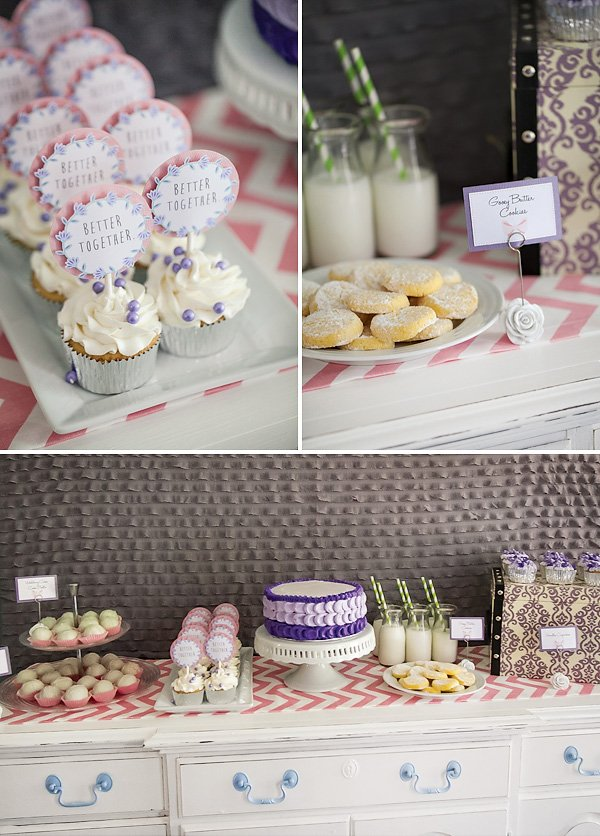 purple and pink dessert table