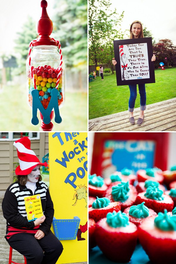 dr. suess quote, candy dish and book reading activity