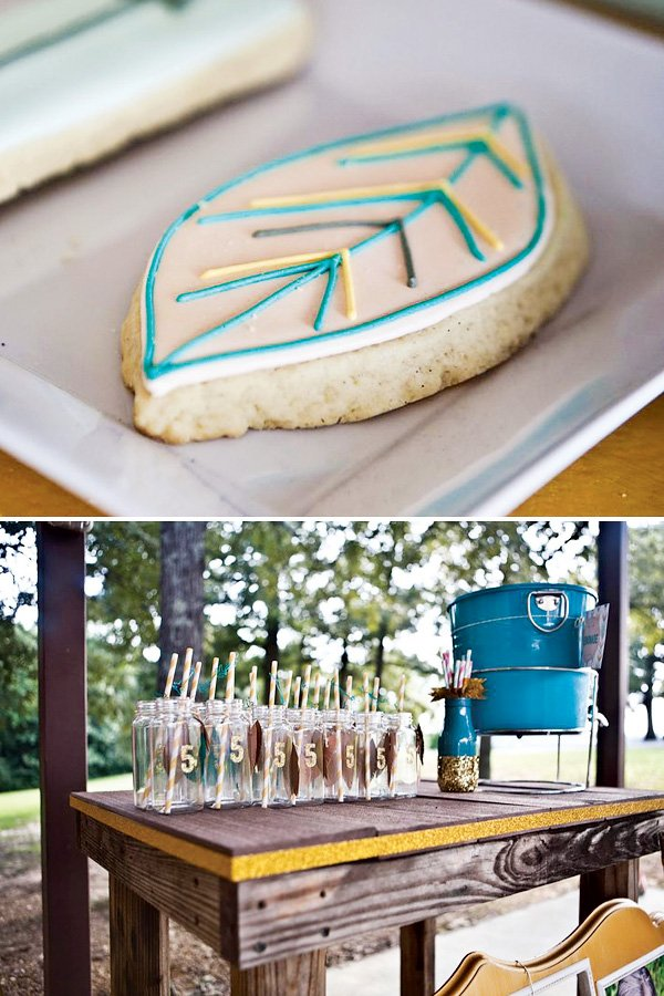 drink station ideas and feather cookies