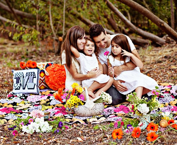 family pictures with flowers