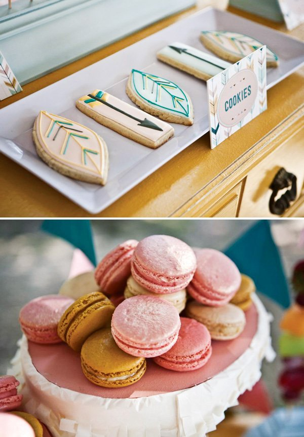 feather cookies and pink and gold party macarons