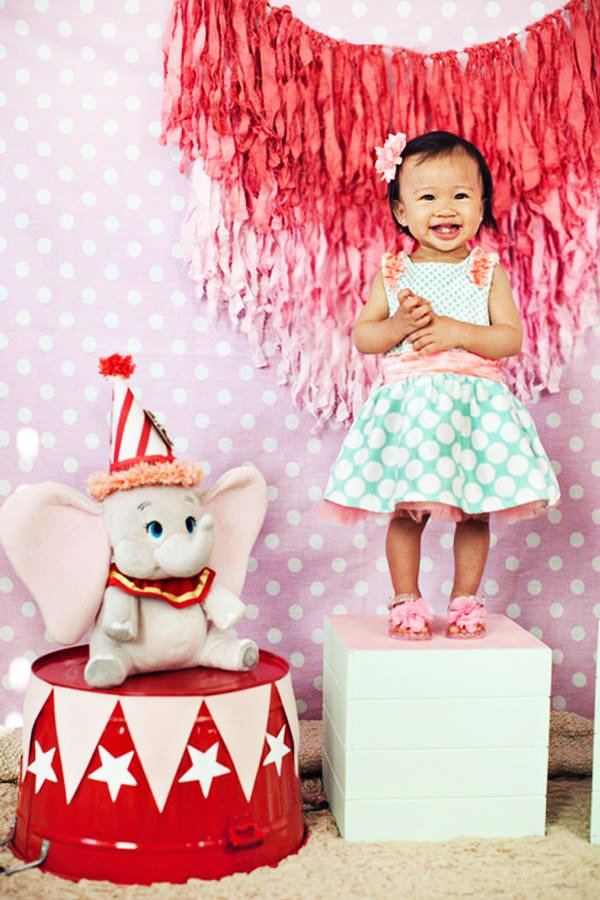Girly Dumbo Inspired Circus Party First Birthday