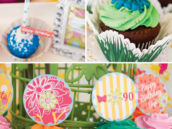 garden flower topped cupcakes and cake pops