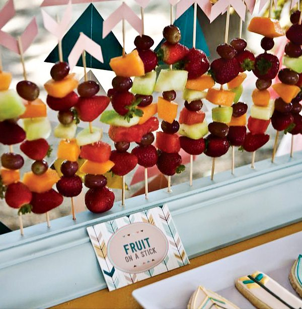 arrow fruit skewers for a birthday party