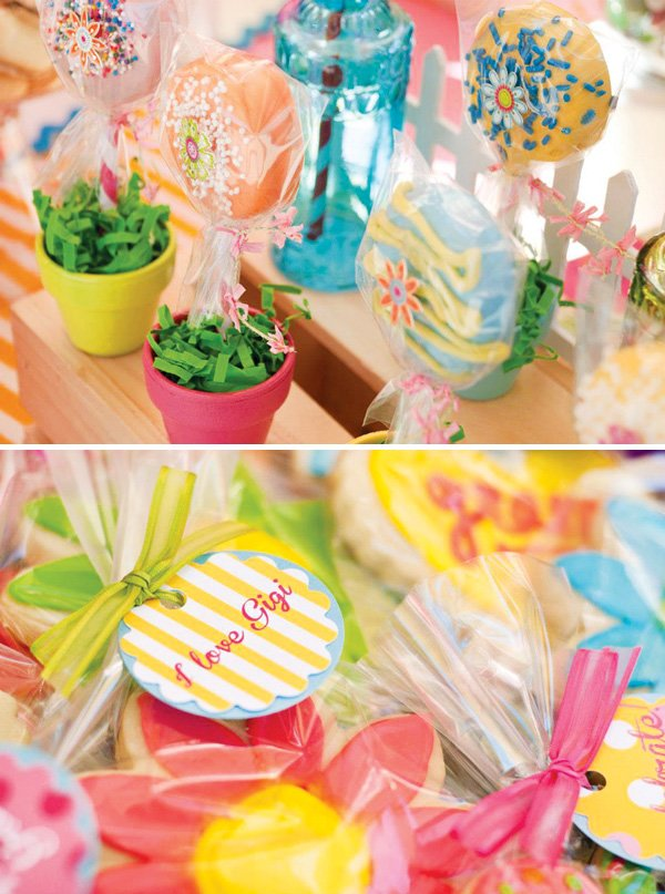 garden flower cookies and potted oreo pops