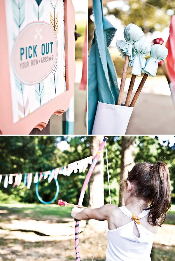 girly bow and arrow shooting birthday party theme