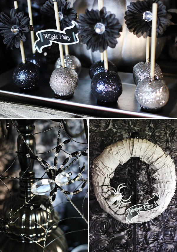 glitter cake pops for a twilight halloween party