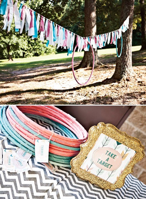glitter party frame and bow and arrow target party favors