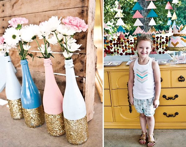 painted and gold glitter dipped wine bottle flower vases