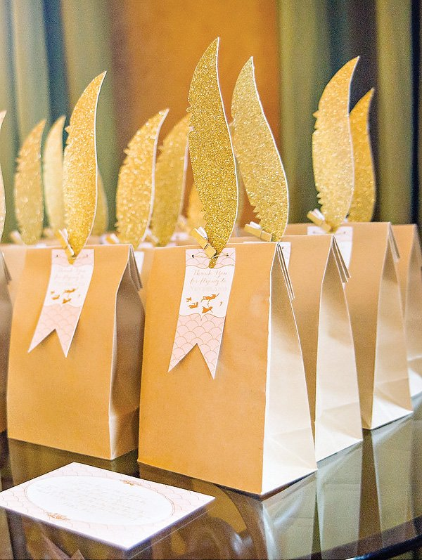 Gold Feather Party Favors