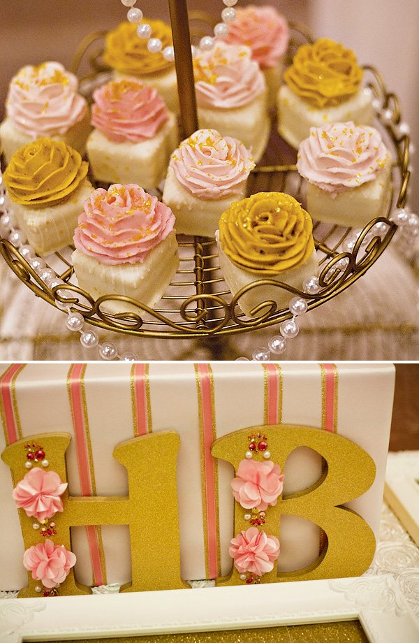 gold and pink sweets