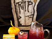 halloween drink recipe with an eyeball garnish