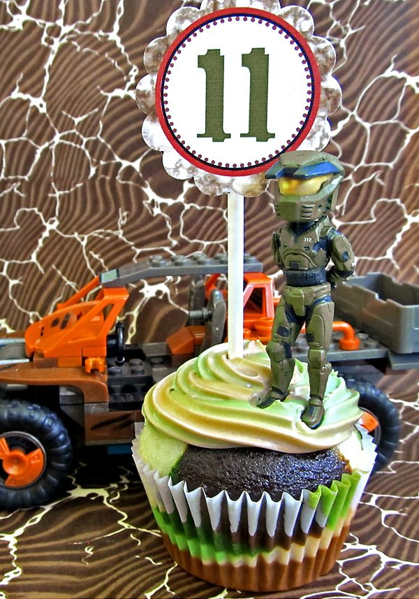 Camo Covered Halo Themed Birthday Party Hostess With