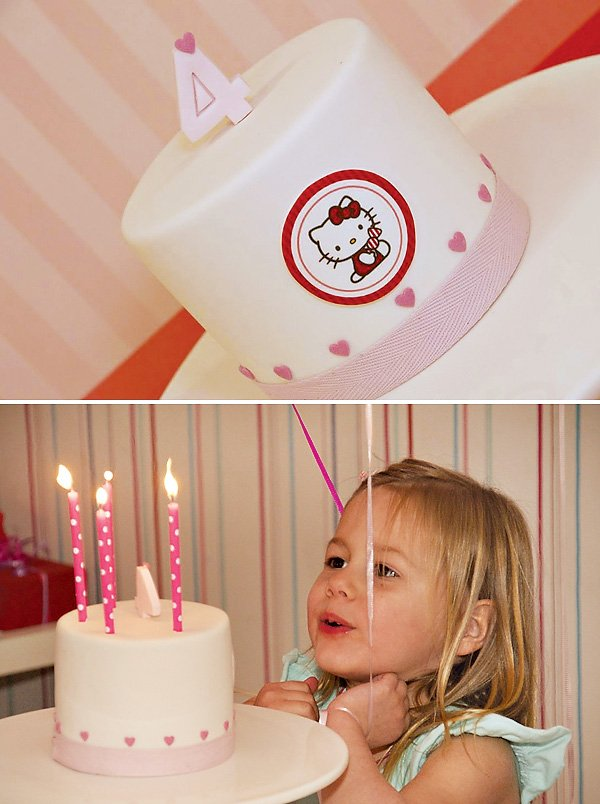 Cute Pink & Red Hello Kitty Birthday Cake