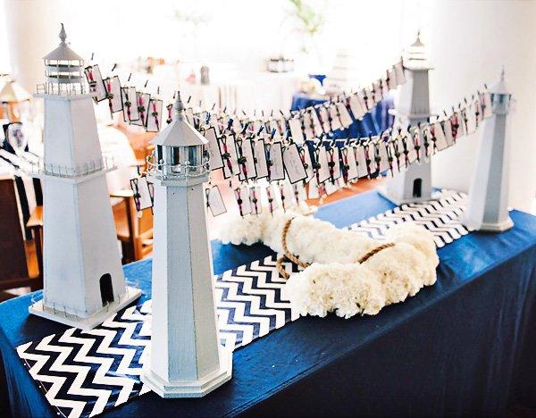 lighthouse escort card display for a nautical wedding
