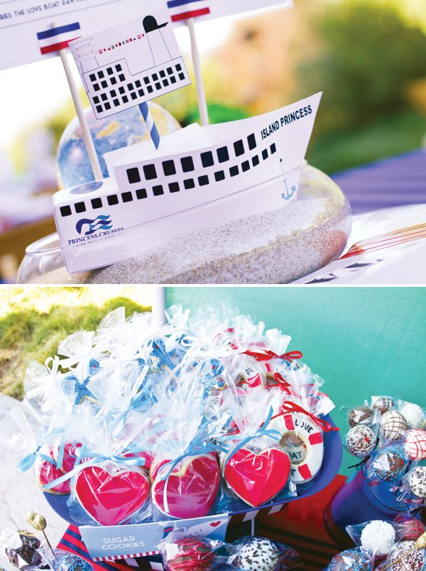 love boat centerpiece and nautical sugar cookie party favors