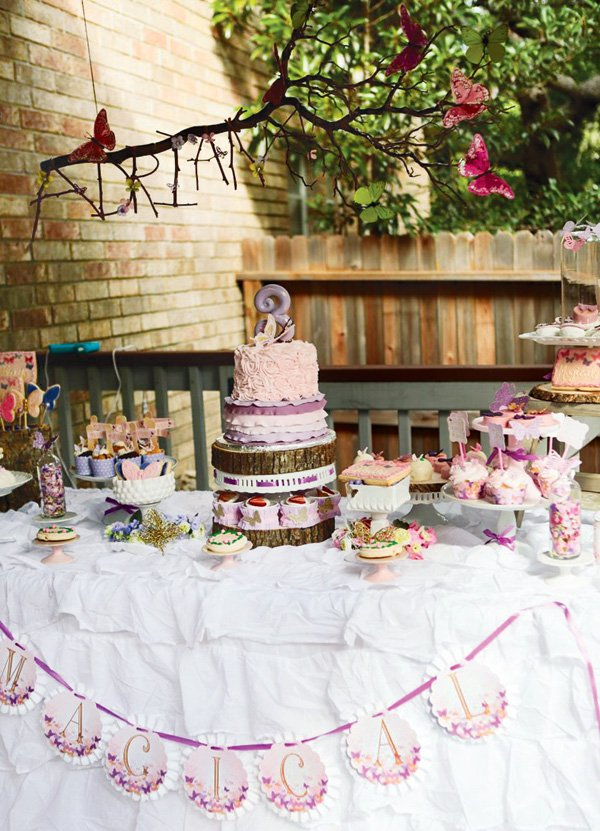 magical butterfly birthday party dessert table with diy twig name