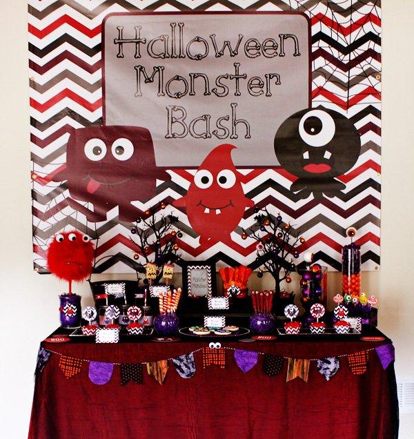 monster themed dessert table
