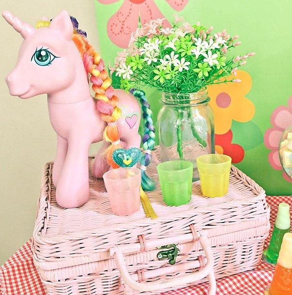 pink my little pony birthday party centerpiece