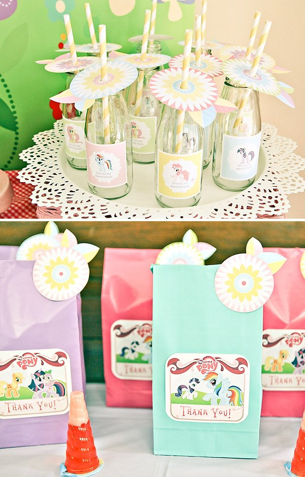 my little pony birthday party printables for party favors and bottle wraps
