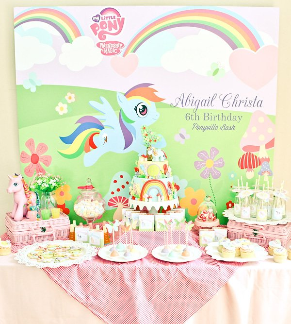 rainbow dash my little pony birthday party dessert table