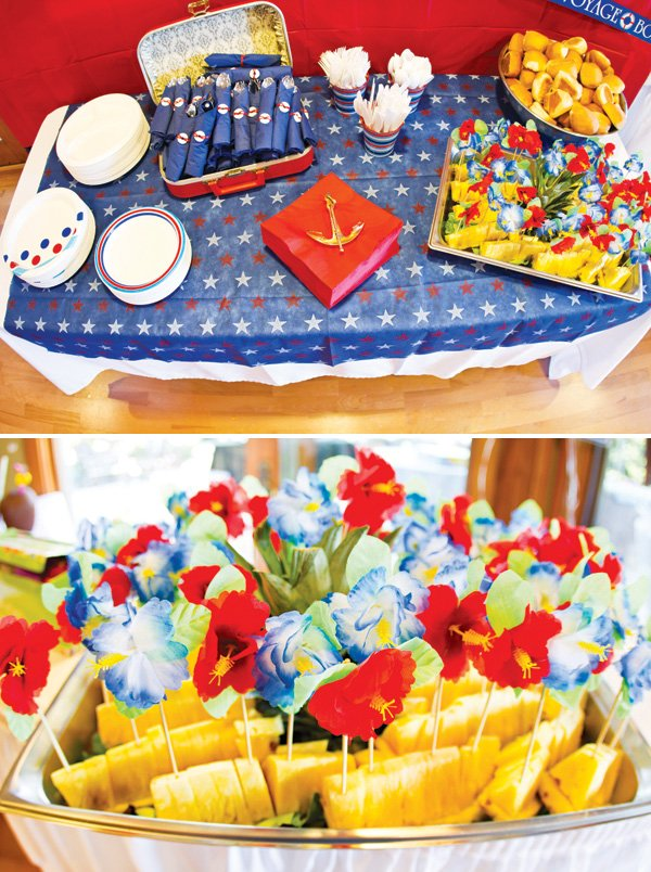 nautical and tropical food table