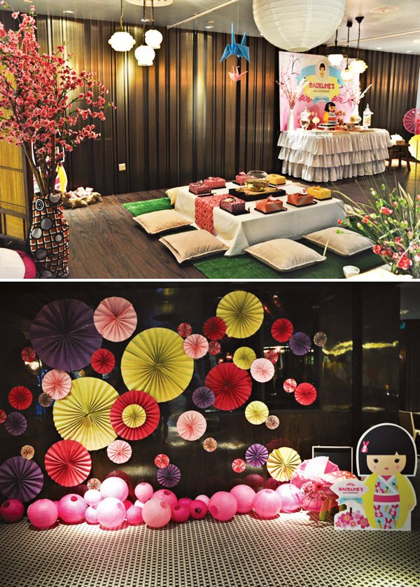 Cheerful japanese kimmidoll themed party hostess with for Asian inspired decor