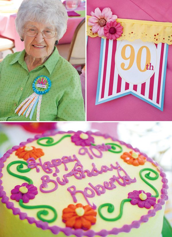 pink and green 90th birthday party