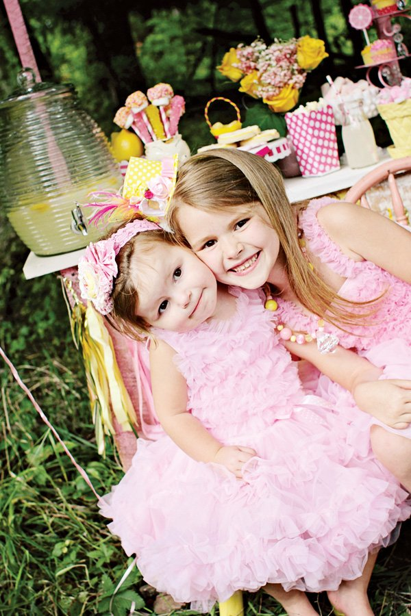 ipnk ruffle dresses for a pink lemonade stand shoot