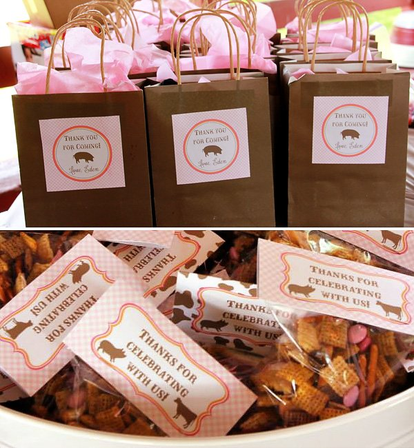 pink farm party favors