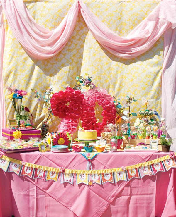 pink garden party 90th birthday dessert table