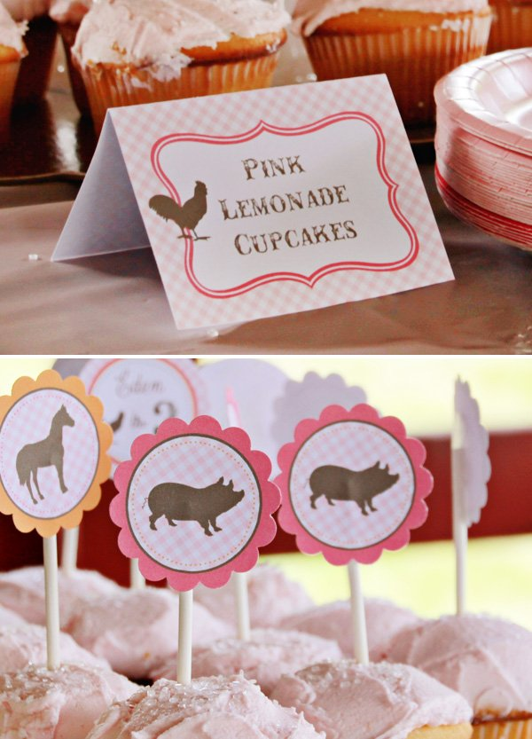 pink farm cupcakes