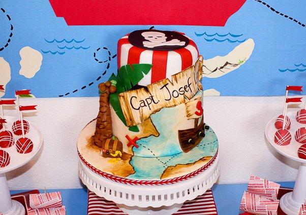 map inspired pirate cake