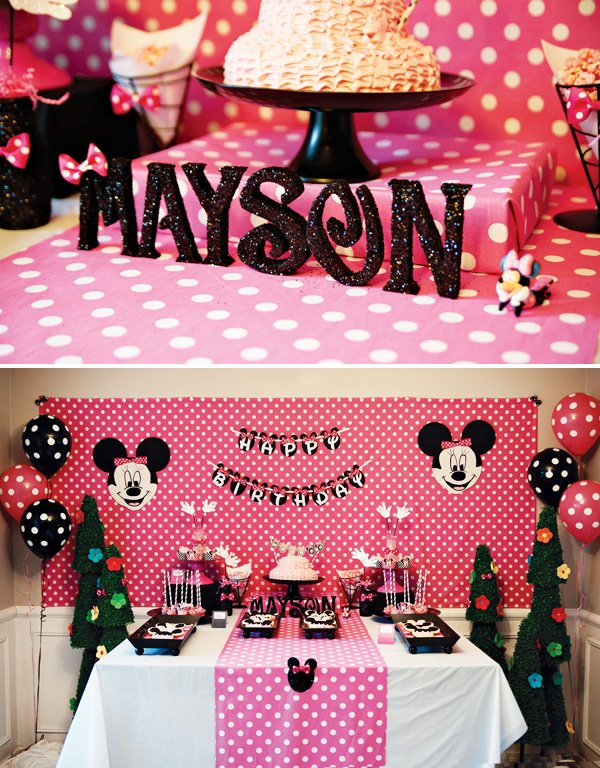 Pink Polka Dot MINNIE Mouse 5th Birthday Party Hostess with