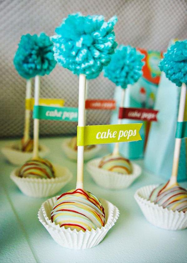 pom pom topped cake pops