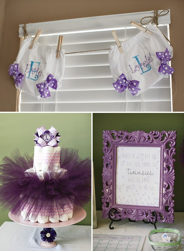 lavender better together twin girls baby shower hostess with t