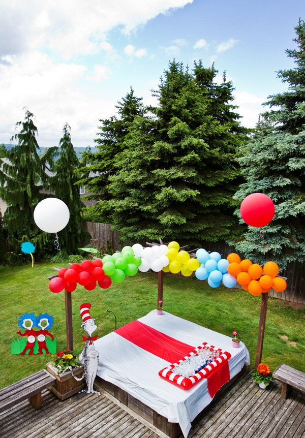rainbow balloons for a dr. suess birthday party