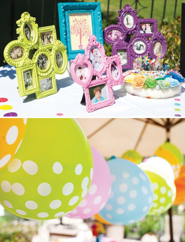 rainbow birthday party decor and balloons