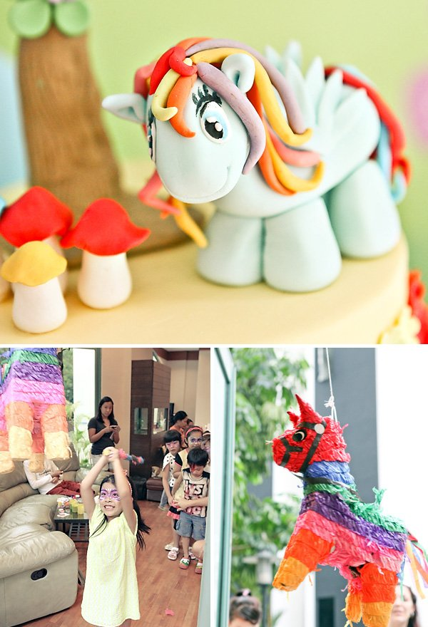 fondant my little pony rainbow cake topper and party pinata