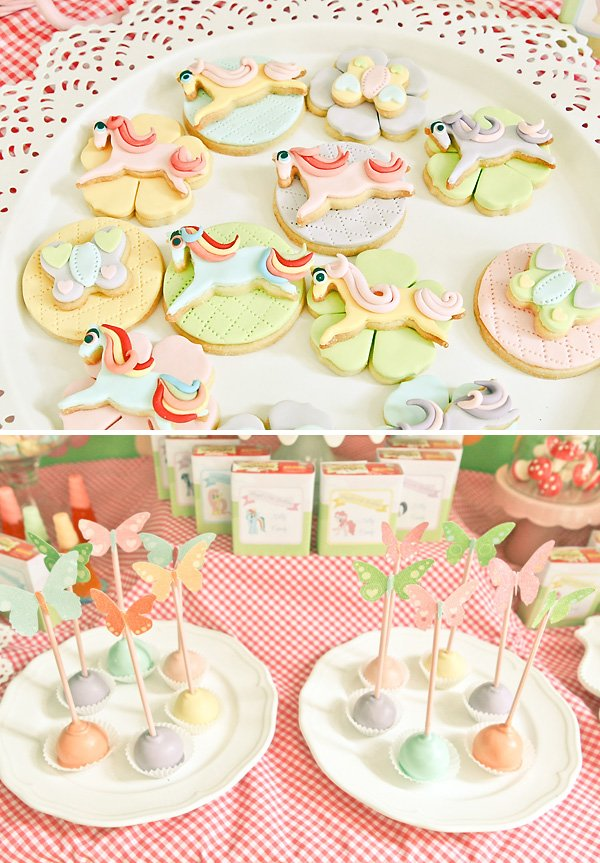 my little pony rainbow birthday party desserts like cake pops and sugar cookies