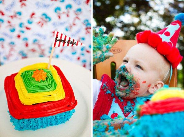 rainbow smash cake and birthday boy photo