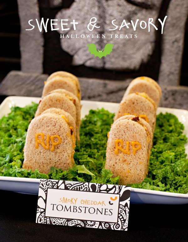 Smoky Cheddar Tombstone Sandwiches - Halloween