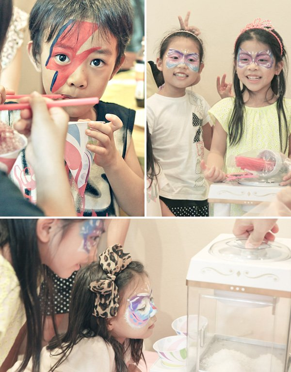 snow cone making birthday party activity