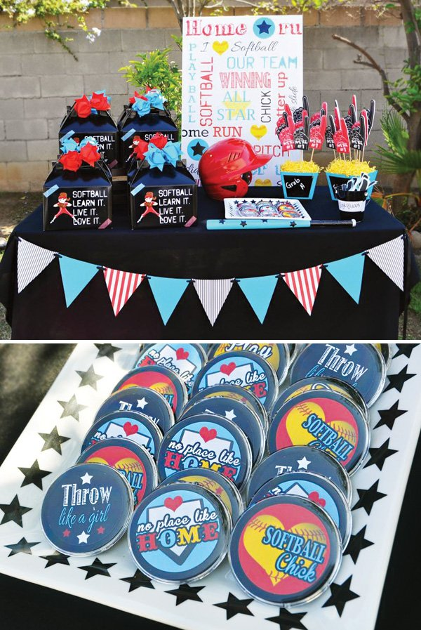sporty softball party favors table