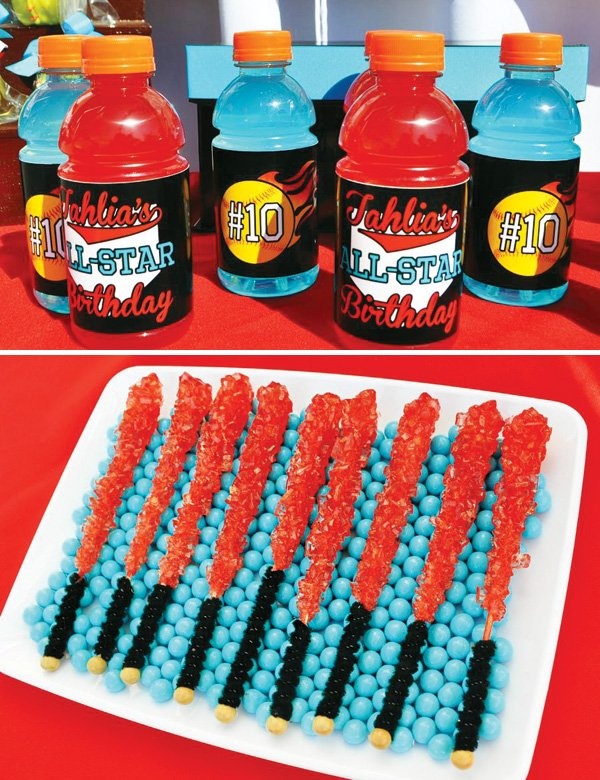 softball bat rock candy and gatorades