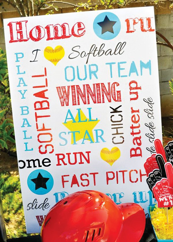 softball party text sign