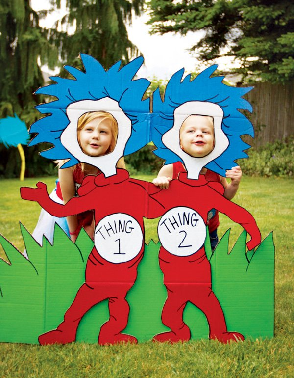 thing 1 and thing 2 stand in photo booth cutouts